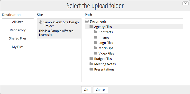 Selecting an upload folder